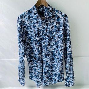 Zara Man slim fit button down camo floral L